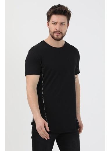 XHAN Hardal Yanı Baskılı T-Shirt  Siyah